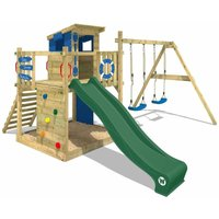 Wooden climbing frame Smart Camp with swing set and green slide, Playhouse on stilts for kids with sandpit, climbing ladder and play-accessories