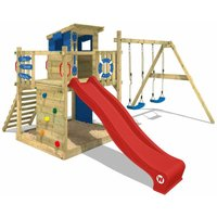 Wooden climbing frame Smart Camp with swing set and red slide, Playhouse on stilts for kids with sandpit, climbing ladder and play-accessories - Wickey