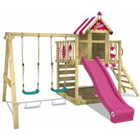 Wooden climbing frame Smart Candy with swing set and purple slide, Playhouse on stilts for kids with sandpit, climbing ladder and play-accessories