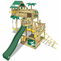 WICKEY Wooden climbing frame Smart Castaway with swing set and green slide, Playhouse on stilts for kids with sandpit, climbing ladder and