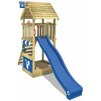 Wooden climbing frame Smart Club wooden roof with blue slide, Garden playhouse with sandpit, climbing ladder and play-accessories - Wickey