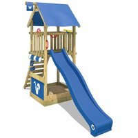 Wooden climbing frame Smart Club with blue slide, Garden playhouse with sandpit, climbing ladder and play-accessories - Wickey