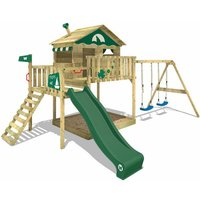 Wooden climbing frame Smart Coast with swing set and green slide, Playhouse on stilts for kids with sandpit, climbing ladder and play-accessories