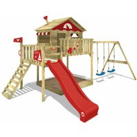 WICKEY Wooden climbing frame Smart Coast with swing set and red slide, Playhouse on stilts for kids with sandpit, climbing ladder and play-accessories