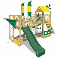 WICKEY Wooden climbing frame Smart Cruiser with swing set and green slide, Playhouse on stilts for kids with sandpit, climbing ladder and