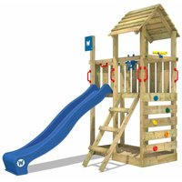 Wooden climbing frame Smart Flash with blue slide, Garden playhouse with sandpit, climbing ladder and play-accessories - Wickey