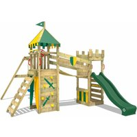 WICKEY Wooden climbing frame Smart Fort with swing set and green Knights playcastle with sandpit, climbing ladder and play-accessories