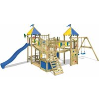 WICKEY Wooden climbing frame Smart King with swing set and blue slide, Knights playcastle with sandpit, climbing ladder and play-accessories