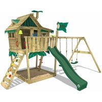 SUPERSALE Wooden climbing frame Smart Monkey with swing set and green slide, Playhouse on stilts for kids with sandpit, climbing ladder and