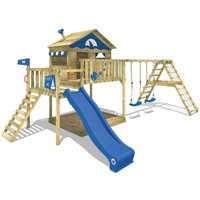 Wooden climbing frame Smart Ocean with swing set and blue slide, Playhouse on stilts for kids with sandpit, climbing ladder and play-accessories