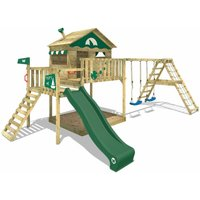 WICKEY Wooden climbing frame Smart Ocean with swing set and green slide, Playhouse on stilts for kids with sandpit, climbing ladder and play-accessories