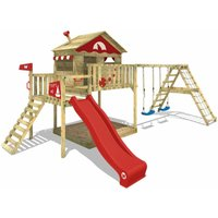 Wooden climbing frame Smart Ocean with swing set and red slide, Playhouse on stilts for kids with sandpit, climbing ladder and play-accessories - Wickey