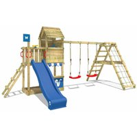 WICKEY Wooden climbing frame Smart Port with swing set and blue slide, Garden playhouse with sandpit, climbing wall and play-accessories