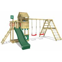Wooden climbing frame Smart Port with swing set and green slide, Garden playhouse with sandpit, climbing wall and play-accessories - Wickey