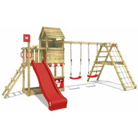 WICKEY Wooden climbing frame Smart Port with swing set and red slide, Garden playhouse with sandpit, climbing wall and play-accessories