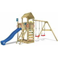 WICKEY Wooden climbing frame Smart Rival with swing set and blue slide, Garden playhouse with sandpit, climbing ladder and play-accessories