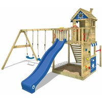 WICKEY Wooden climbing frame Smart Sand with swing set and blue slide, Garden playhouse with sandpit, climbing ladder and play-accessories