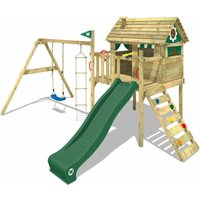 WICKEY Wooden climbing frame Smart Travel with swing set and green slide, Playhouse on stilts for kids with climbing ladder and play-accessories