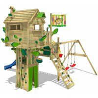 WICKEY Wooden climbing frame Smart Treetop with swing set and blue slide, Playhouse on stilts for kids with climbing ladder and play-accessories