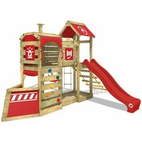 WICKEY Wooden climbing frame SteamFlyer with swing set and red slide, Playhouse on stilts for kids with sandpit, climbing ladder and play-accessories