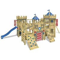 WICKEY Wooden climbing frame The Golden Goat with swing set and blue Knights playcastle with sandpit, climbing ladder and play-accessories