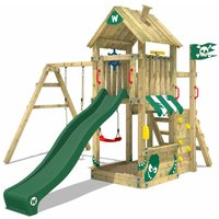 WICKEY Wooden climbing frame The Proud Parrot with swing set and green slide, Garden playhouse with sandpit, climbing ladder and play-accessories