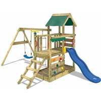 Wooden climbing frame TurboFlyer with swing set and blue slide, Garden playhouse with sandpit, climbing ladder and play-accessories - Wickey