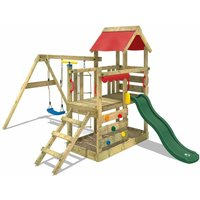Wooden climbing frame TurboFlyer with swing set and green slide, Garden playhouse with sandpit, climbing ladder and play-accessories - Wickey