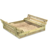 WICKEY Wooden Sandpit Flip 120x125x20 cm - Sandpit for kids with hinged lid, Sandbox for children with bench, Impregnated Wood