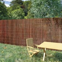 Willow Fence 5x1.5 m - Brown - Vidaxl