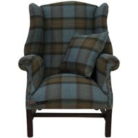 Winchester Wool Tweed High Back Wing Chair Fireside Armchair Skye Sea Check Fabric