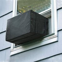Window Air Conditioner Cover Outdoor, Outside Window AC Unit Cover Black Dust-Proof Waterproof AC Cover Outdoor Window AC Protection Cover 48*68*63cm