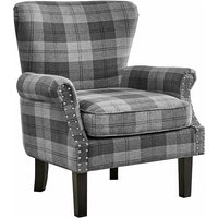 Wing Back Armchair Occasional Accent Chair Studded Design, Tartan Fabric- Grey