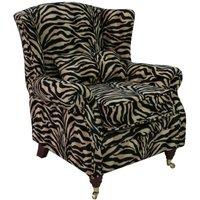 Designer Sofas 4 U - Wing Chair Fireside High Back Armchair Antelope Gold
