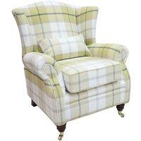 Designer Sofas 4 U - Wing Chair Fireside High Back Armchair Balmoral Ochre Check Fabric PandS
