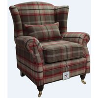 Wing Chair Fireside High Back Armchair Balmoral Rosso Check Fabric PandS