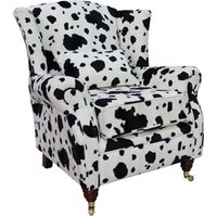 Wing Chair Fireside High Back Armchair Black Cow