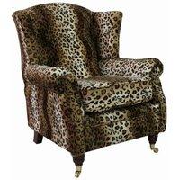 Designer Sofas 4 U - Wing Chair Fireside High Back Armchair Brown Leopard