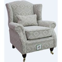 Designer Sofas 4 U - Wing Chair Fireside High Back Armchair Capella Oatmeal Fabric