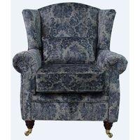 Wing Chair Fireside High Back Armchair Chaucer Cyan Velvet
