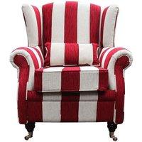 Wing Chair Fireside High Back Armchair Harrison Stripe Ruby