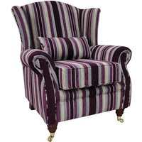Designer Sofas 4 U - Wing Chair Fireside High Back Armchair Justin Stripe Aubergine