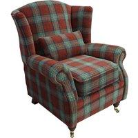 Wing Chair Fireside High Back Armchair Lana Terracotta Check Fabric