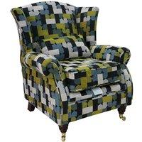 Wing Chair Fireside High Back Armchair Malibu Lime Fabric