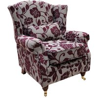 Wing Chair Fireside High Back Armchair Meghan Aubergine Fabric