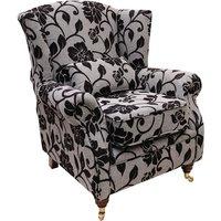 Wing Chair Fireside High Back Armchair Meghan Black Fabric