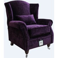 Wing Chair Fireside High Back Armchair Modena Aubergine Velvet