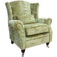 Wing Chair Fireside High Back Armchair Modena Lime Green Velvet