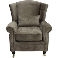 Wing Chair Fireside High Back Armchair Opulence Truffle Fabric