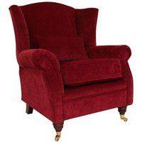 Designer Sofas 4 U - Wing Chair Fireside High Back Armchair Pimlico Wine Fabric